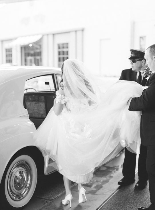 black and white bride vintage car