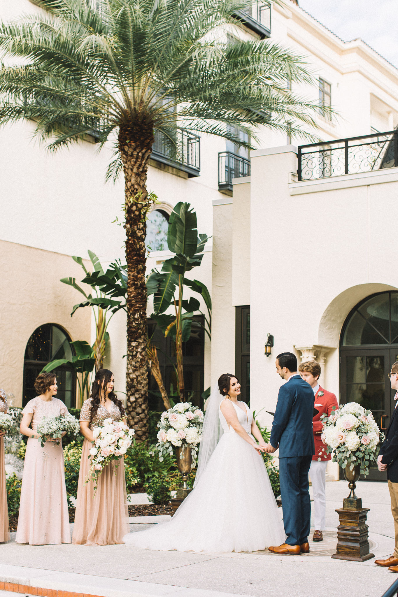 outdoors florida ceremony at a high end hotel with spacious ballroom for wedding reception
