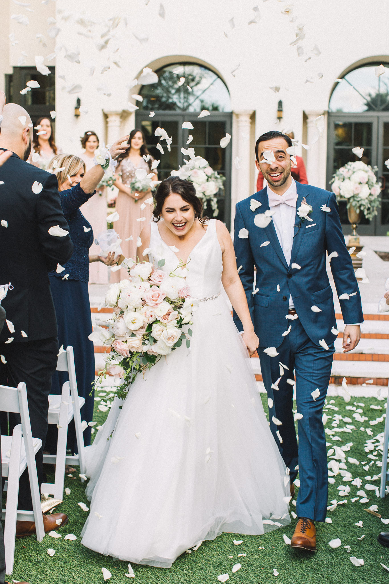 flower petals being thrown after ceremony ceremony exit