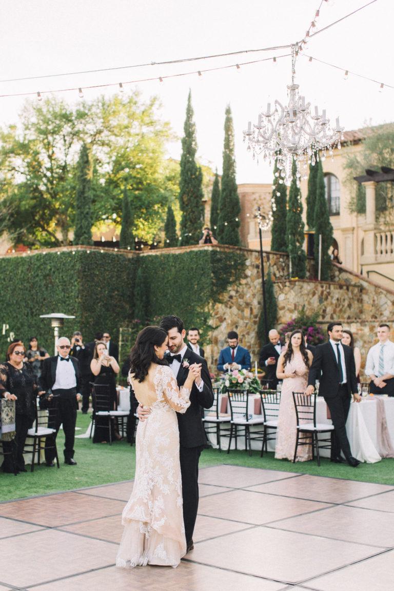 first dance bella collina luxury outdoor wedding