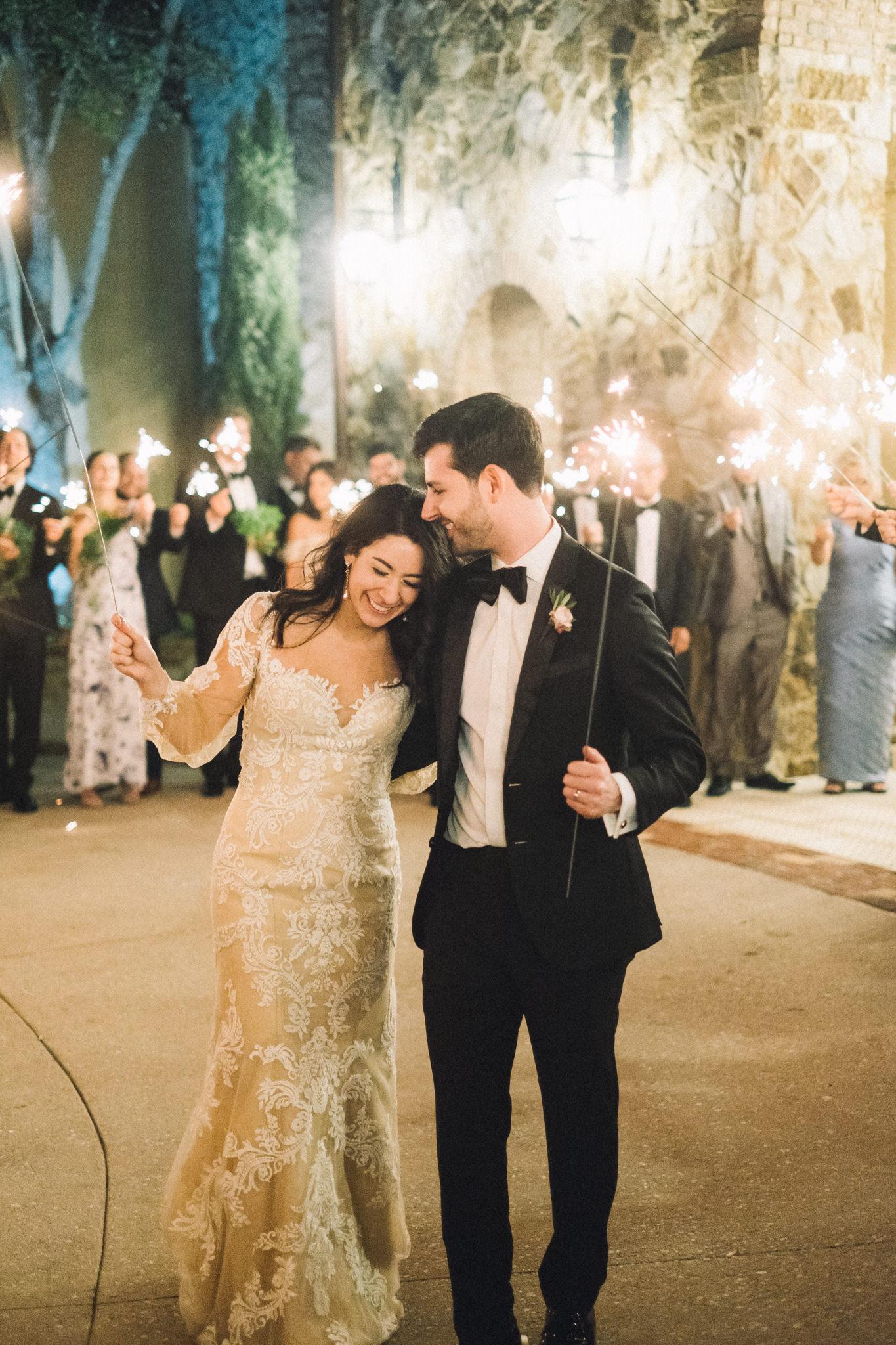 wedding sparkler exit with no flash